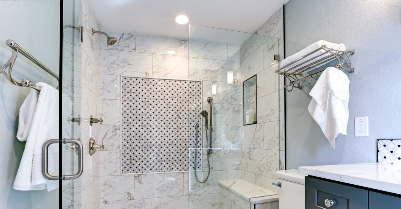 Bathroom with glass shower room.
