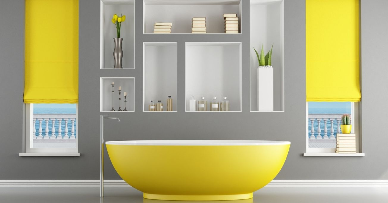 Yellow and gray Bathroom with shelves on the wall