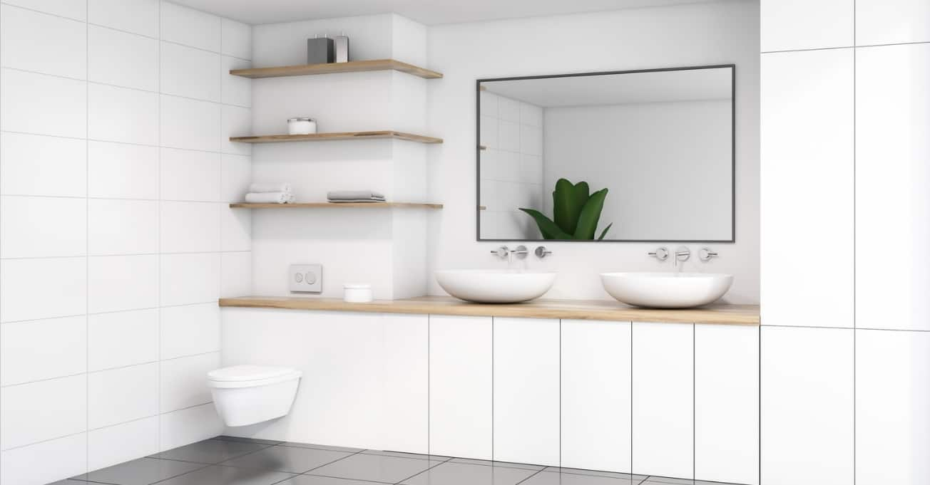 White toilet with storage and 2 sinks