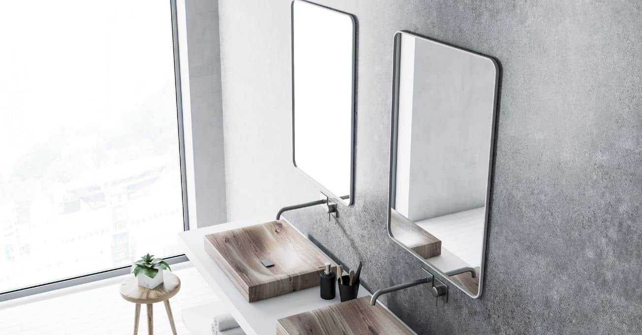 Two sinks and mirrors in the bathroom
