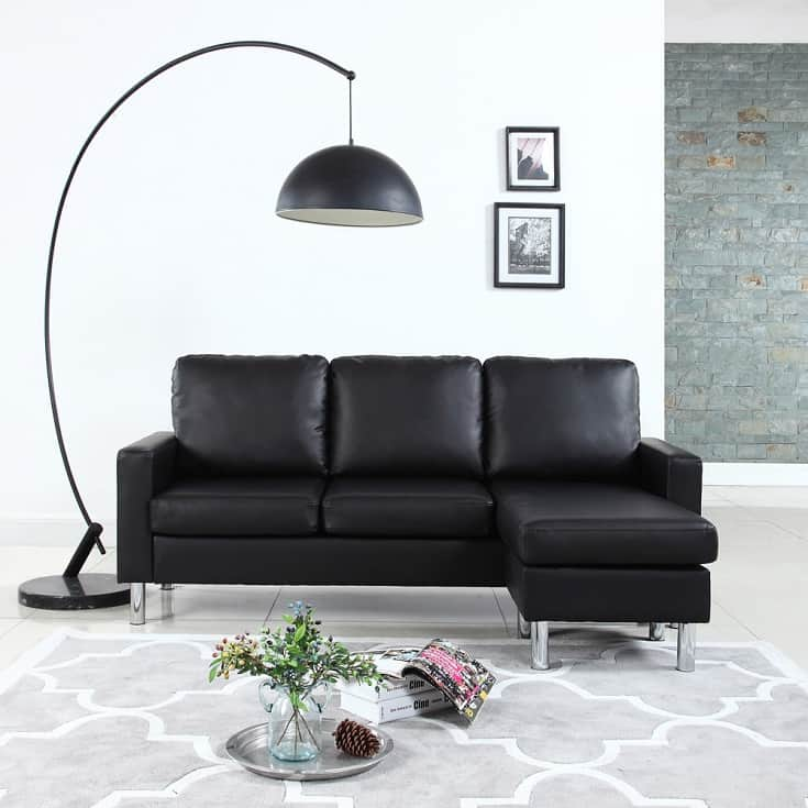 Mobilis Modern Reversible Small Space Configurable Faux Leather Sectional, Black