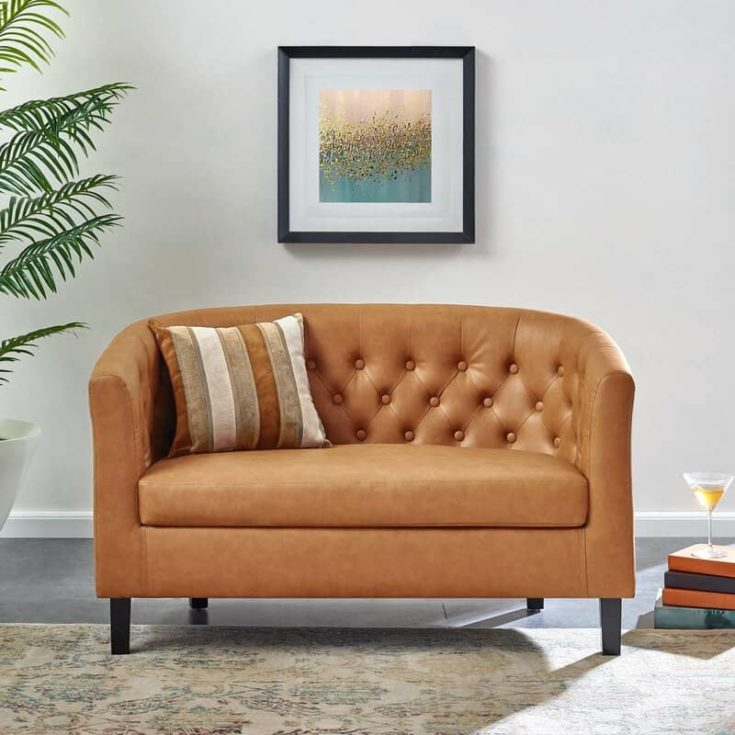 Beaton 49 Wide Faux Leather Square Arm Loveseat