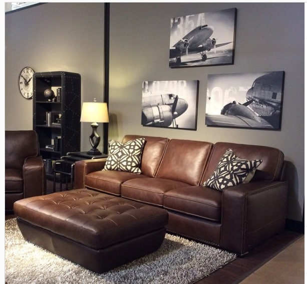 Black living room with sofa