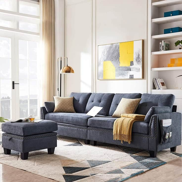 HONBAY Reversible Sectional Sofa Couch for Living Room L-Shape Sofa