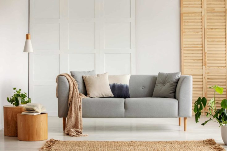 Gray couch in the center of modern living room