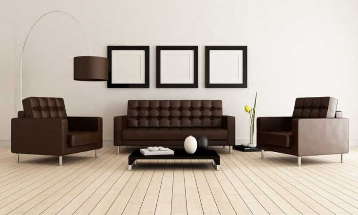 Sofa and armchairs in a minimalist lounge