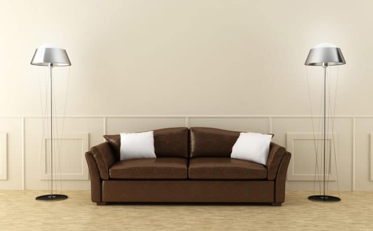 Leather modern sofa in luminous home room