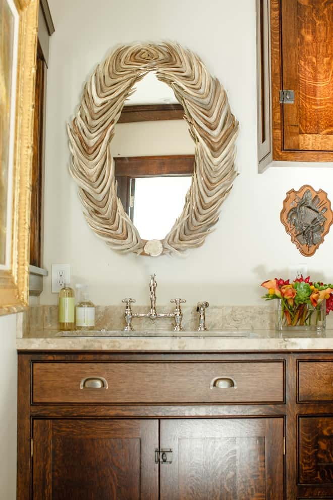 Powder room - traditional powder room idea in Portland with shaker cabinets