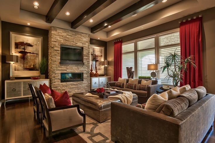 Inspiration for a transitional formal and open concept dark wood floor and brown floor living room