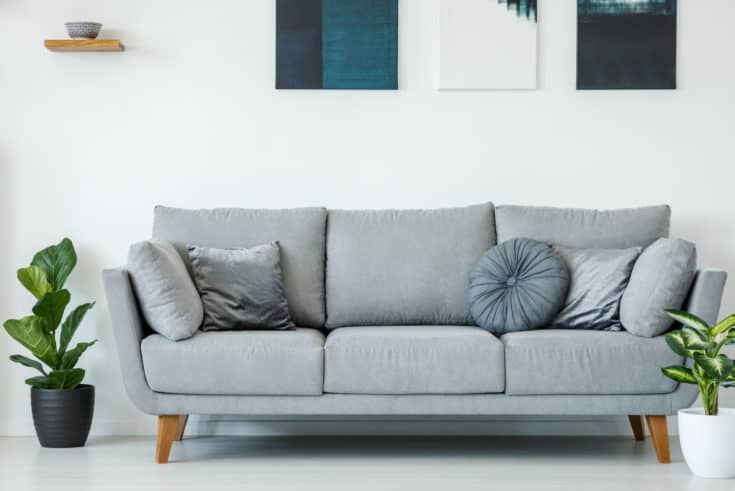 Comfy grey sofa decorated with pillows