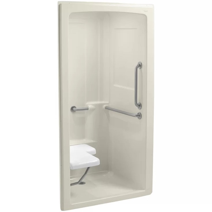 """Freewill 45"""" x 37-1/4"""" x 84"""" One-Piece Barrier-Free Transfer Commercial Shower Stall"""