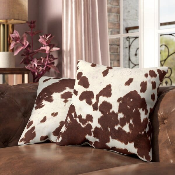 Iva Cow Hide Print Throw Pillow (Set of 2)
