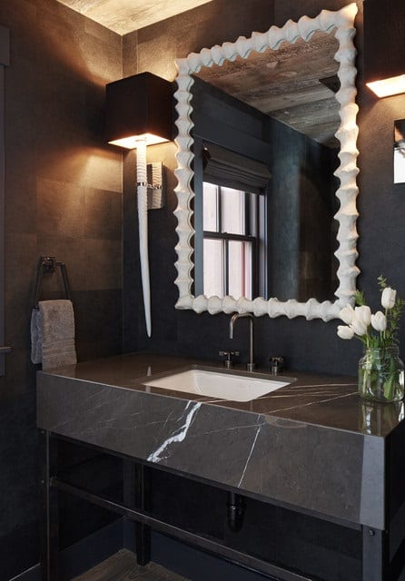 Trendy powder room photo in San Francisco with an undermount sink, marble countertops and gray countertops