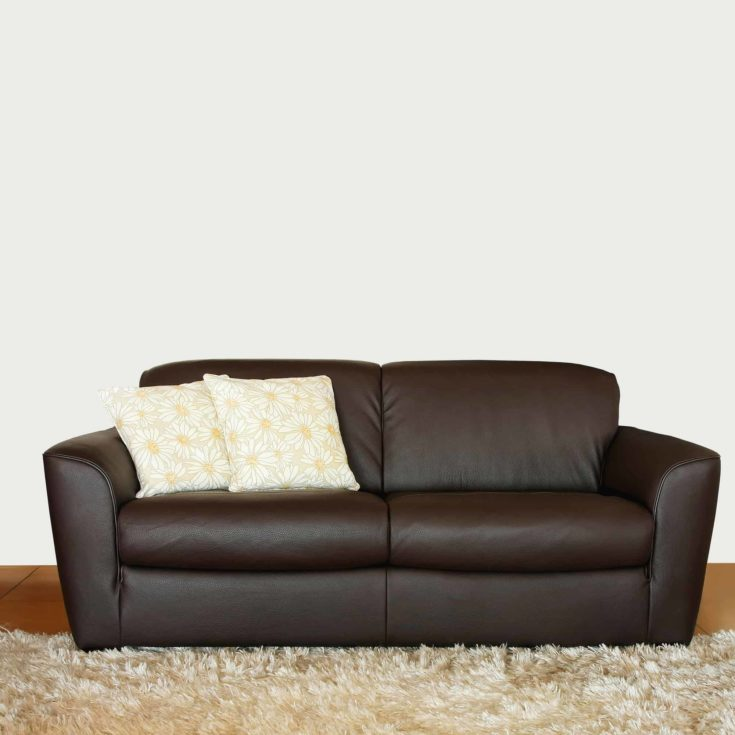 Brown leather sofa with two floral pillows
