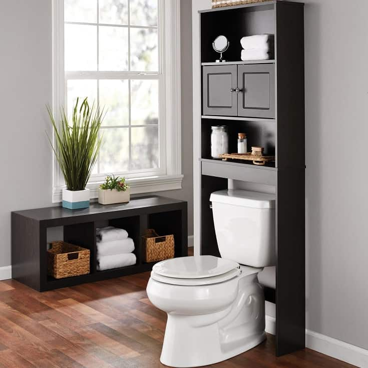Bathroom Storage over the Toilet Space Saver with Three Fixed Shelves, Espresso