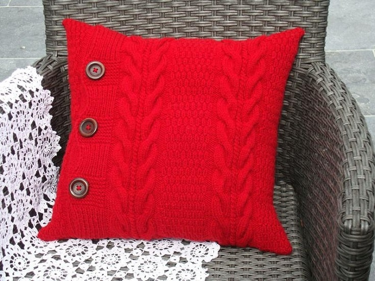 Red knitted pillow cover throw pillow case sofa cushion couch pillow luxury modern pillow new home gift for mom