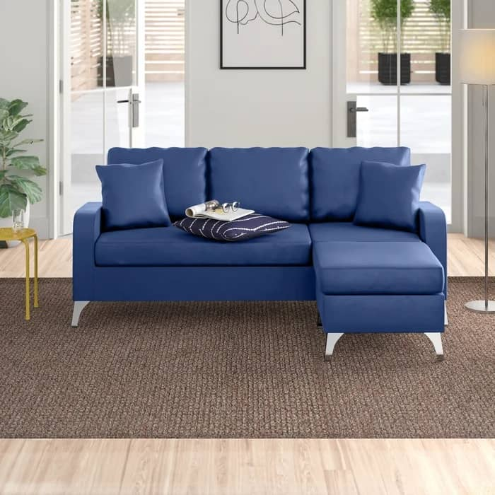 """Kanye 76"""" Wide Faux Leather Reversible Sofa & Chaise with Ottoman"""