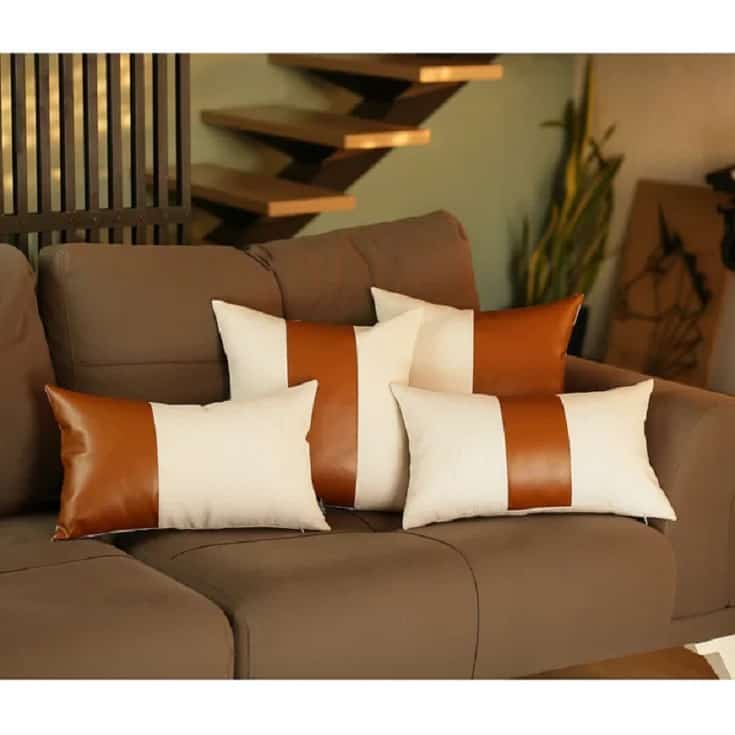 """Andice Faux Leather 17"""" Throw Pillow Cover"""