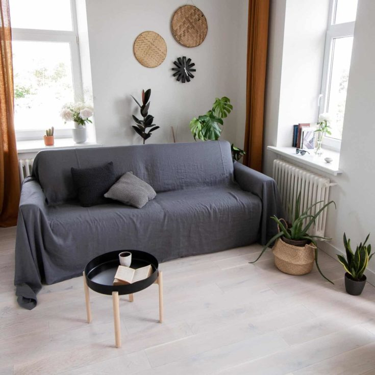 Fossil Grey Linen Couch Cover