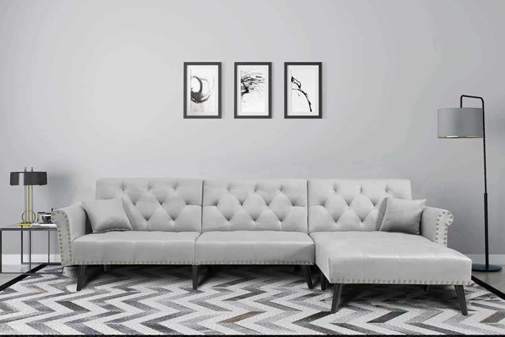 Mid Century Upholstered Sectional Sofa Futon Couch with Reversible Chaise with Adjustable Back Sofa Bed