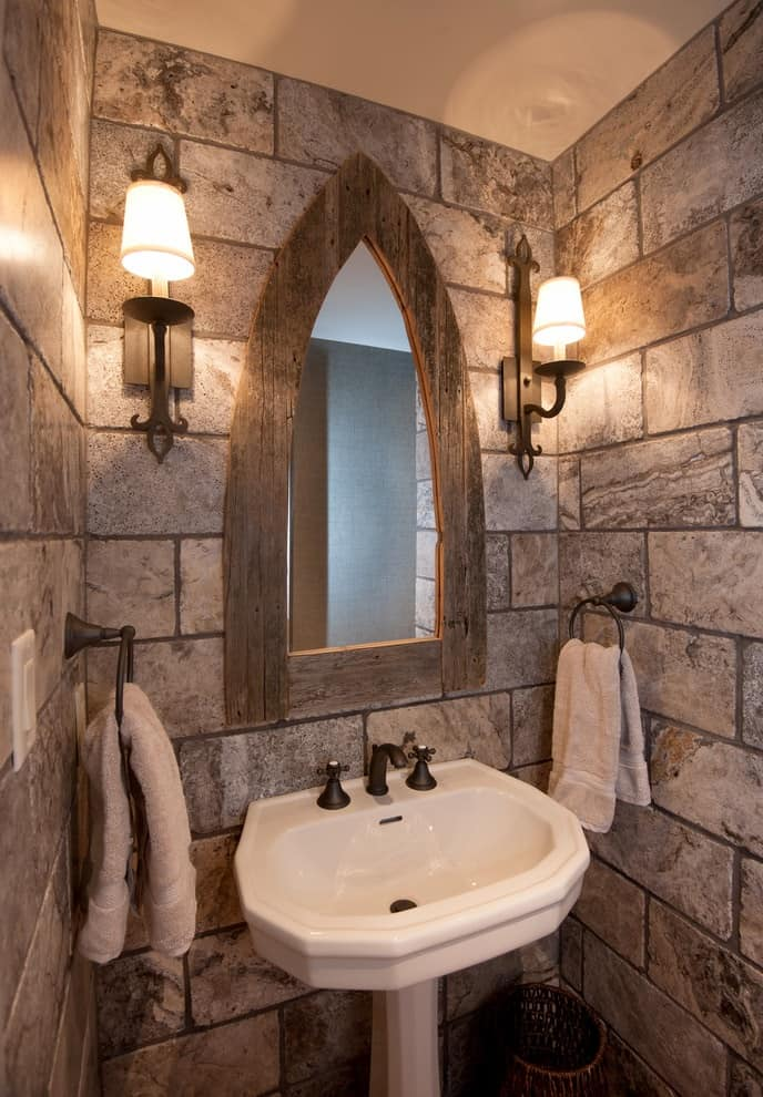 Example of a mid-sized mountain style 3/4 porcelain tile bathroom