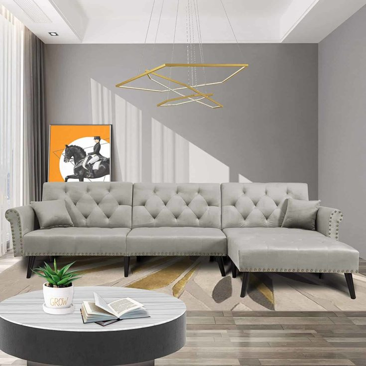 Convertible Sectional Couch with Chaise Lounge for Living Room
