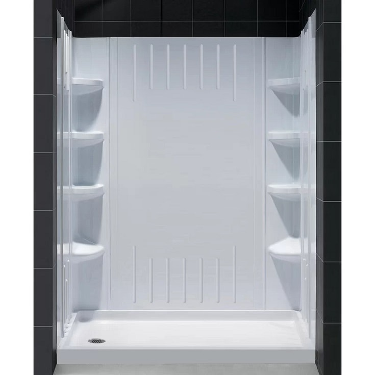 """DL-6147L-01 Qwall 60"""" W x 75.63"""" H Framed Rectangle Shower Stall"""