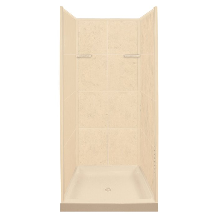 """KS36-96 36"""" W x 72"""" H Framed Square Shower Stall and Base Included"""