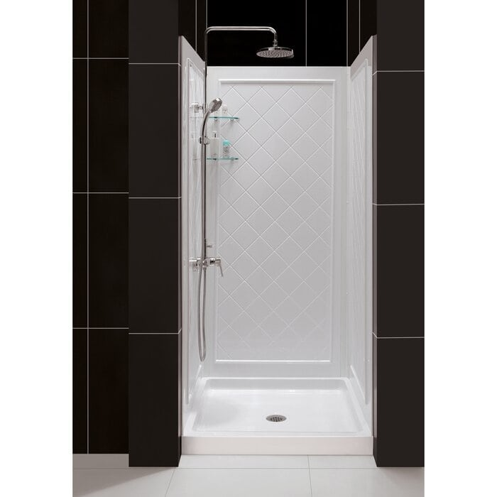 """DL-6195C-01 QWALL-4 32"""" W x 76.75"""" H Framed Square Shower Stall"""