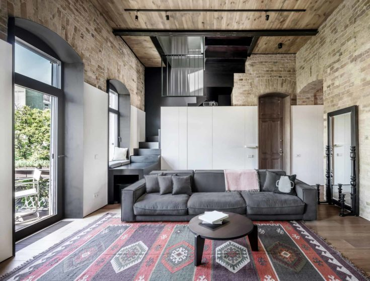 Interior in a loft style with brick walls