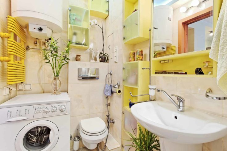 Part of small Modern Bathroom with washing machine