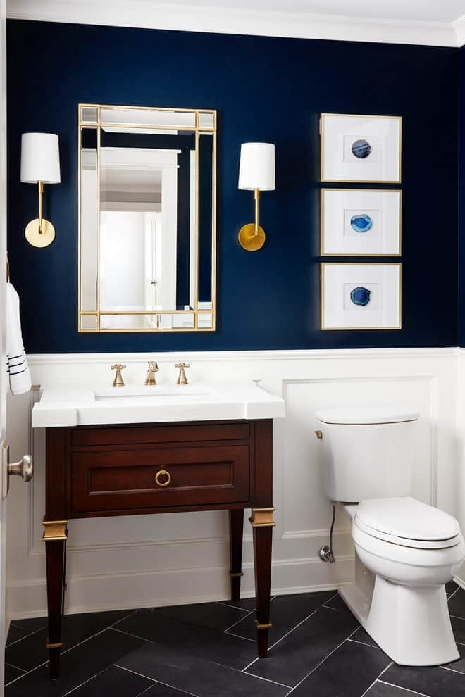 Small transitional gray floor and porcelain tile powder room photo in Chicago