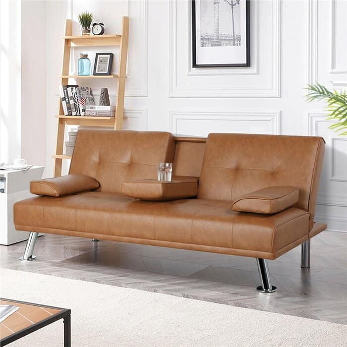 """Janni Full 65.7"""" Wide Faux Leather Biscuit Back Convertible Sofa"""