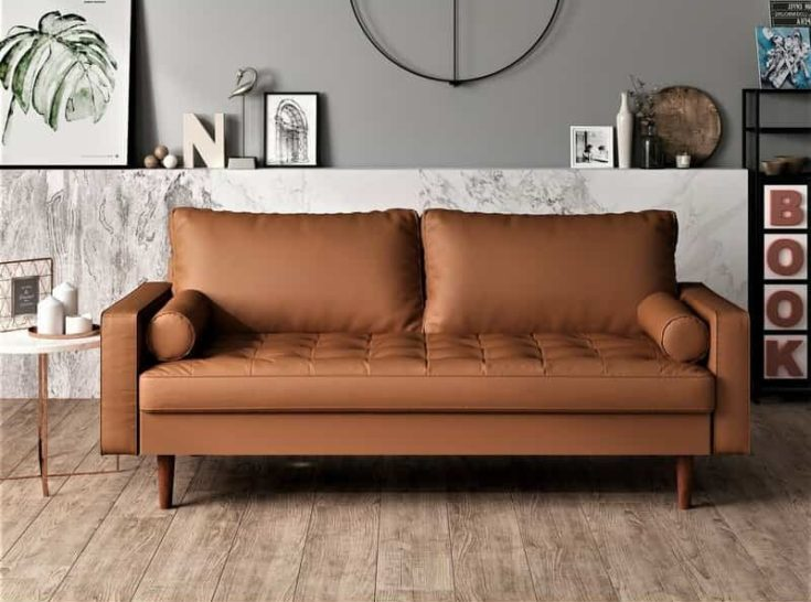 Lincoln Faux Leather Wide Square Arm Sofa