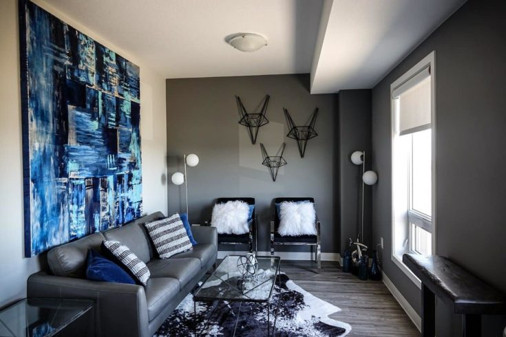 Living room with blue painting
