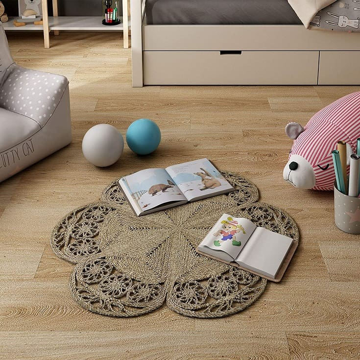 Made Terra Flower Shaped Woven Area Rug