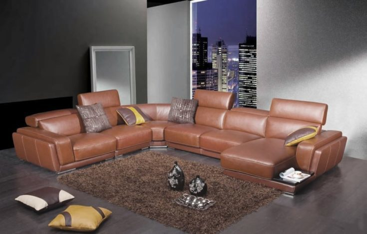 Modern Brown Leather Sectional Sofa with Retractable Headrests
