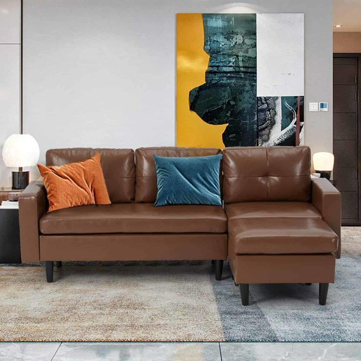 Esright Faux Leather Sectional Sofa Sectional Sofa Couch