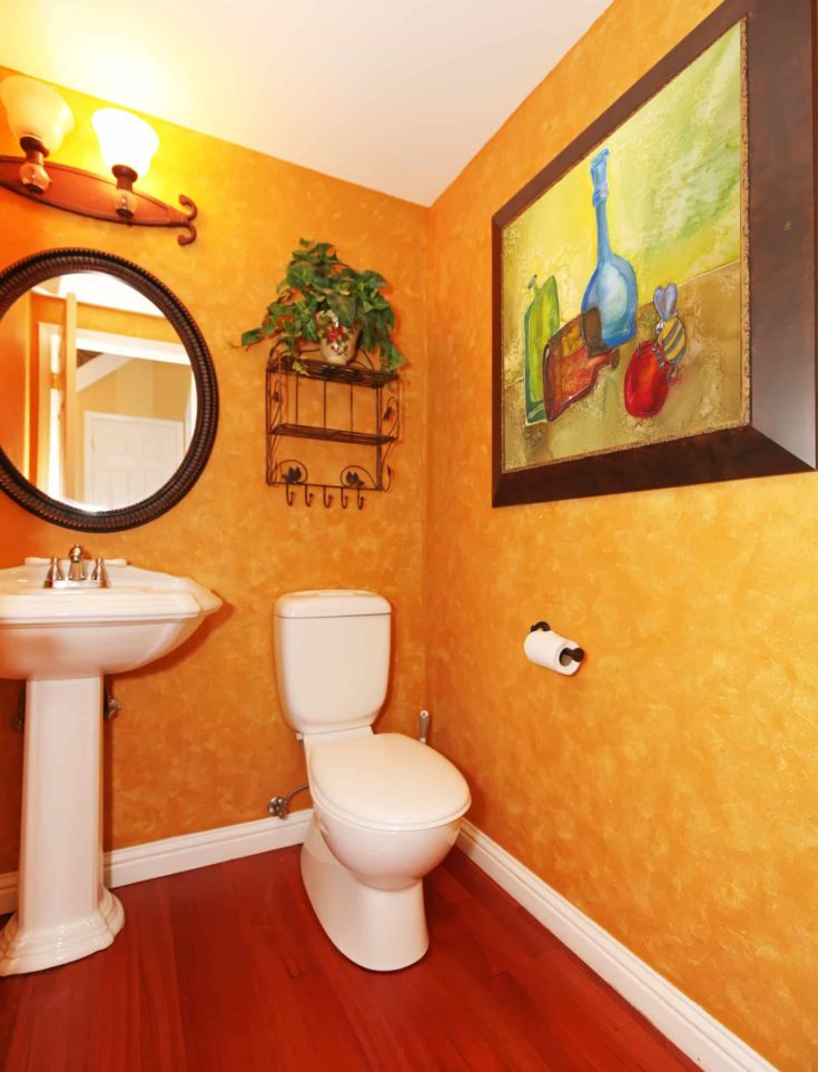 Orange small bathroom with large painting.