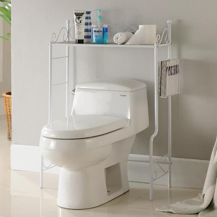 """White 26"""" W x 36"""" H x 12"""" D Free-Standing Over the Toilet Storage"""