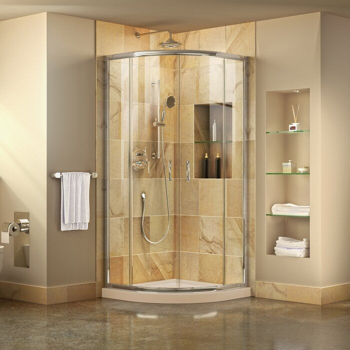 """DL-6702-22-01 Prime 36"""" x 74.75"""" Round Sliding Shower Enclosure with Base Included"""