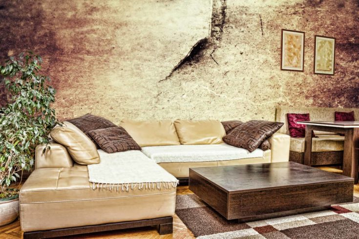 Grunge living room or interior with dirty design with sofa corner
