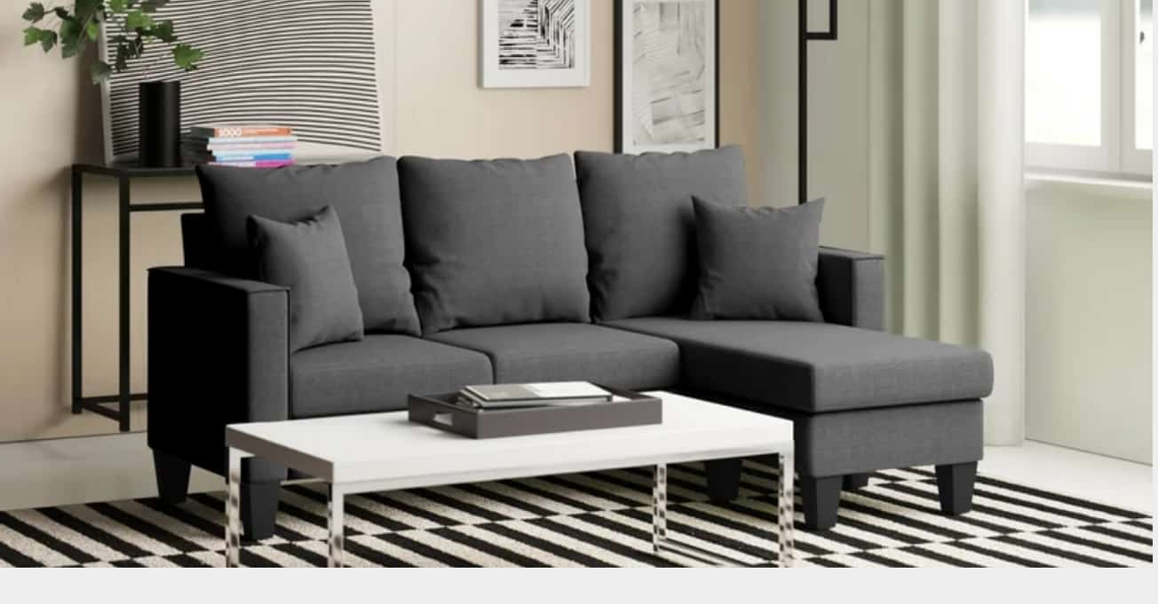 Gray sofas in a living room.