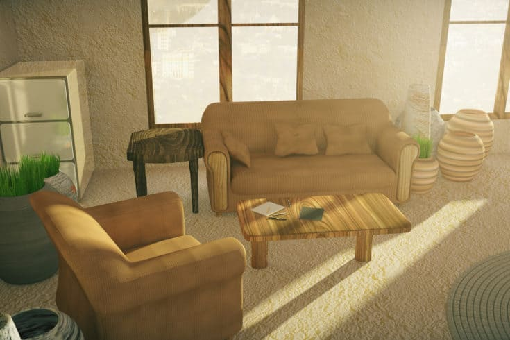 Brown sofa and armchair in country style interior.