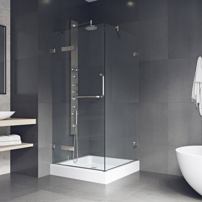 """VG6011BNCL363W Monteray 36.12"""" W x 79.25"""" H Square Hinged Shower Enclosure with Base Included"""