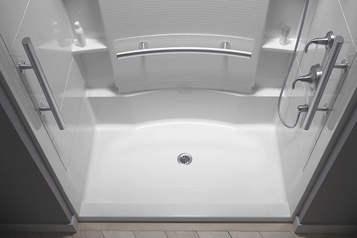 STERLING 72290103-V-0 Accord 36-Inch x 60-Inch x 74-1/2-Inch Shower Kit with Seat and Grab Bars, White