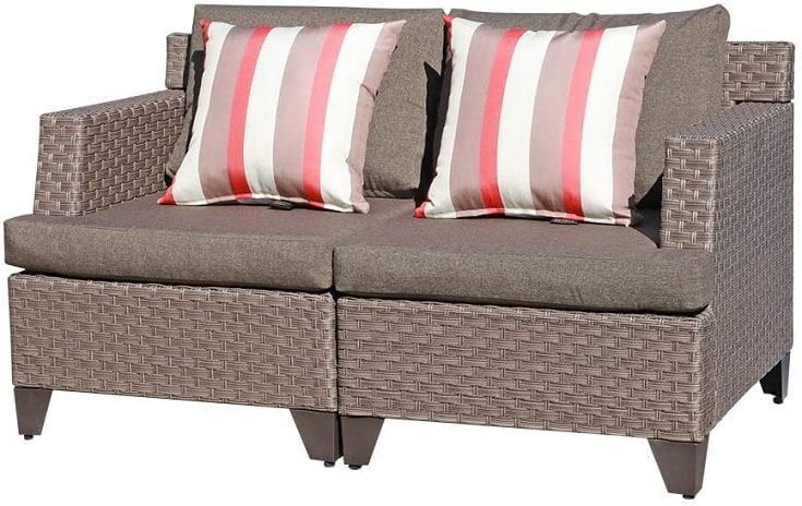 SUNSITT Outdoor Wicker Loveseat Patio Furniture with Taupe Cushions