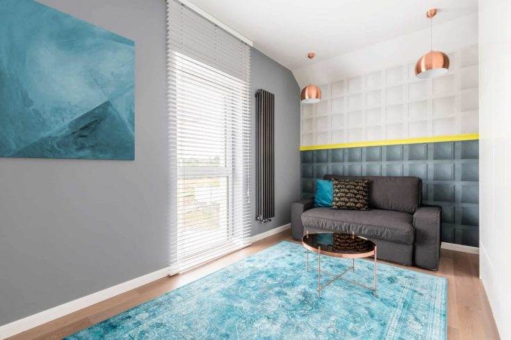 Contemporary stylish room with gray couch