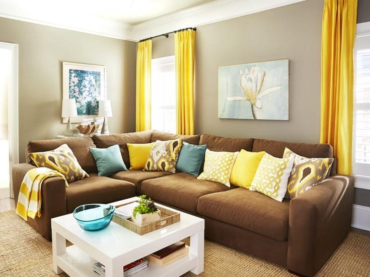 Sunny Yellow living room with brown sofa
