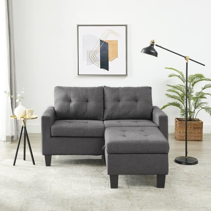 """Alligin 58.27"""" Wide Reversible Sofa & Chaise with Ottoman"""